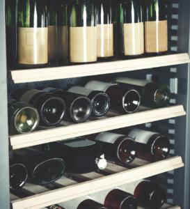 Bottles of Wine in Wine Fridge